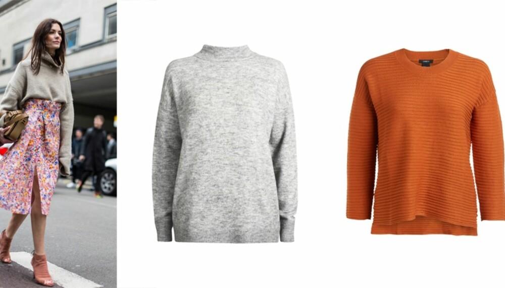 FIN KOMBO: Kombiner den varme ullgenseren med en av skjørtene du brukte i sommer. Grå genser fra Bik Bok, kr 399. Orange genser fra Lindex, kr 299.