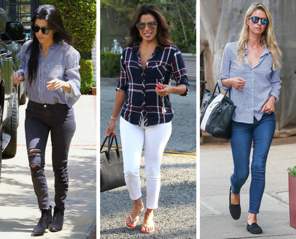 STYLINGTIPS (f.v.): Både Kourtney Kardashian, Eva Longoria og Nicky Hilton styler skjorta enkelt og hverdagslig til jeans. Longoria sin skjorte har innsving i livet, som fremhever midjen hennes.
