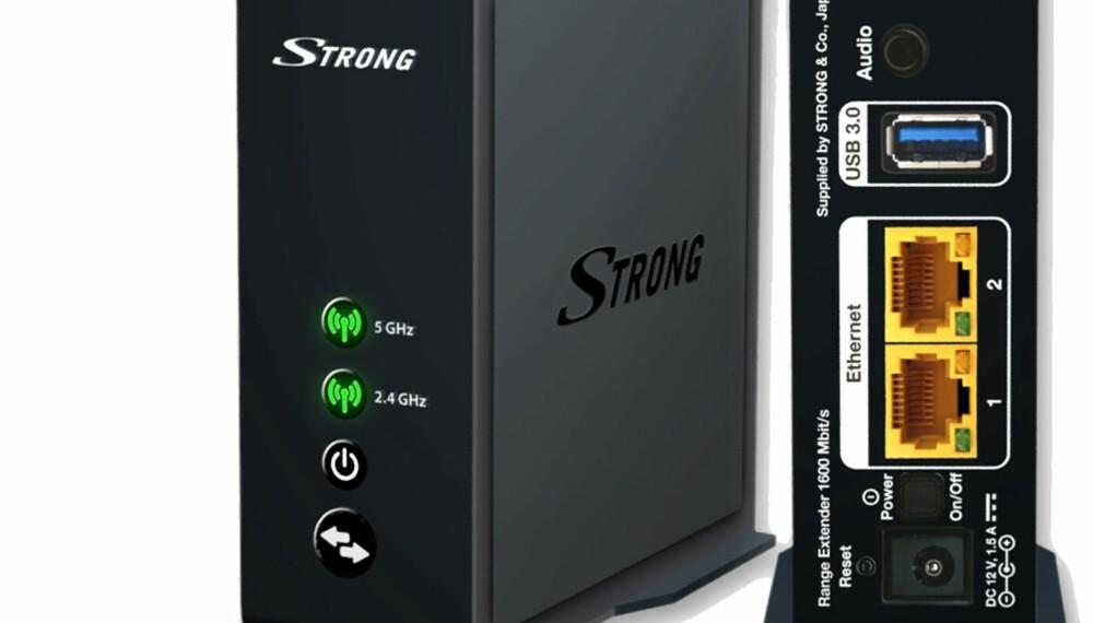 LITEN OG DISKRET: Nettverksforlengeren fra Strong er relativt liten og kompakt. Den støtter både 2,4 GHz og 5 GHz trådløse nett.