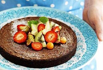 Kladdekake med mørk sjokolade.