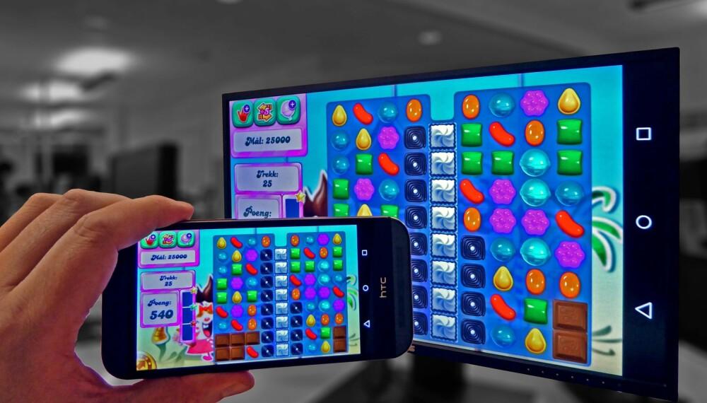 FULLSKJERM: Chromecast har nå mulighet til å vise mobilskjermen på TV-en.