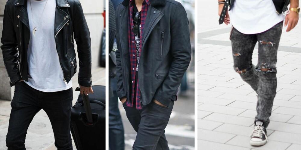 ROCKA: Skinny jeans, mørke farger og en solid skinnjakke preger denne mannens garderobe. Gjerne et par vintage t-skjorter med bandlogoen trykt til brystet.