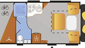 MER PLASS: Grunnrisset viser tydelig hvor mye plass som frigjøres når faste senger erstattes med en heveseng i taket.