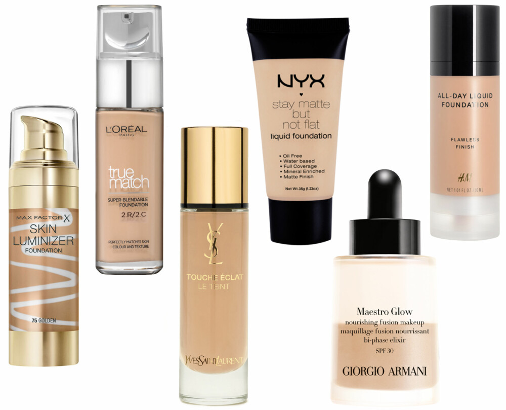FLYTENDE FOUNDATION (f.v.): Max Factor Skin Luminizer Foundation 75 Golden, kr 185. L'Oréal True Match Foundation Vanilla Rose, kr 179. Yves Saint Laurent Touche Éclat Le Teint BD30, kr 435. NYX Stay Matte Not Flat Liquid Foundation, kr 89. Giorgio Armani Maestro Glow 4, kr 540. H&M Liquid foundation Almond Beige, kr 99.
