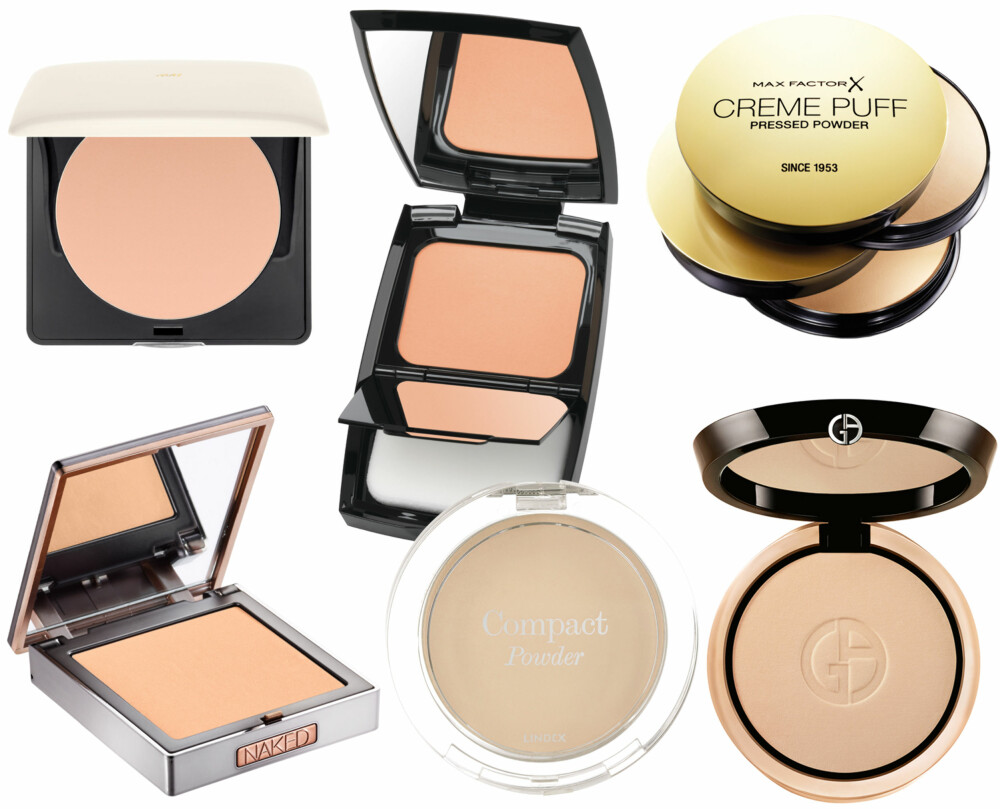 PUDDERFOUNDATION (f.v.): H&M Perfecting powder Golden Beige, kr 99. Lancôme Teint Idole Ultra Compact 01 Beige Albâtre, kr 465. Max Factor Creme Puff Pressed Powder, kr 119. Urban Decay Naked Skin Compact Powder Medium Light, kr 285. Lindex Compact Powder Honey Beige, kr 79,50. Giorgio Armani Luminous Silk Compact 2, kr 385.