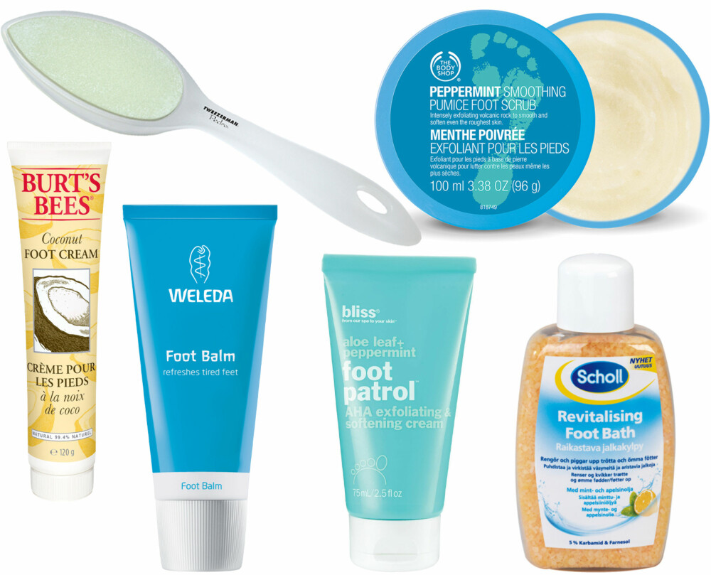 PRODUKTER TIL FOTSPA (f.v.): Tweezerman Pedro Callus Stone, kr 269. The Body Shop Peppermint Soothing Foot Scrub, kr 159. Burt's Bees Coconut Foot Cream, kr 189. Weleda Foot Balm, kr 169. Bliss Foot Patrol 75m, kr 159. Scholl Scholl Revitalising Foot Bath kr 69.