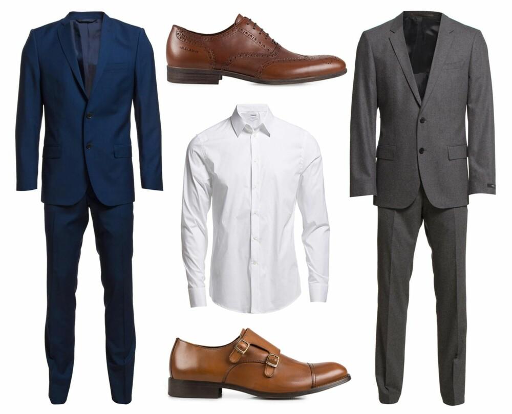 DISSE KOMBINASJONENE FUNKER: Brune sko er kjempefint og stilfullt til dresser i både blått og grått. Øverst fra venstre: Blå dress fra J. Lindeberg, kr 4400. Sko fra Vagabond, kr 1095. Grå dress fra Hugo Boss, kr 5499. Hvit skjorte fra Filippa K, kr 900. Sko fra Selected Homme, kr 995.