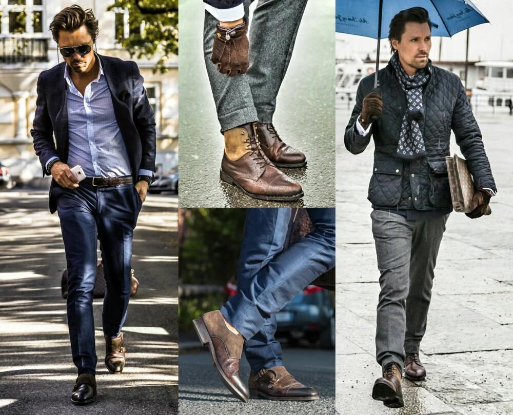 FINT TIL BLÅTT OG GRÅTT: Brune sko er finest til blå og grå dresser, noe som stilblogger Chris Skoug enkelt viser her. Legg merke til at skoene også matcher tilbehøret hans.