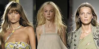 SOMMERSMINKE: På vår- og sommervisningen til Pucci, Chloé og Balmain hadde modellene minimalt med sminke.