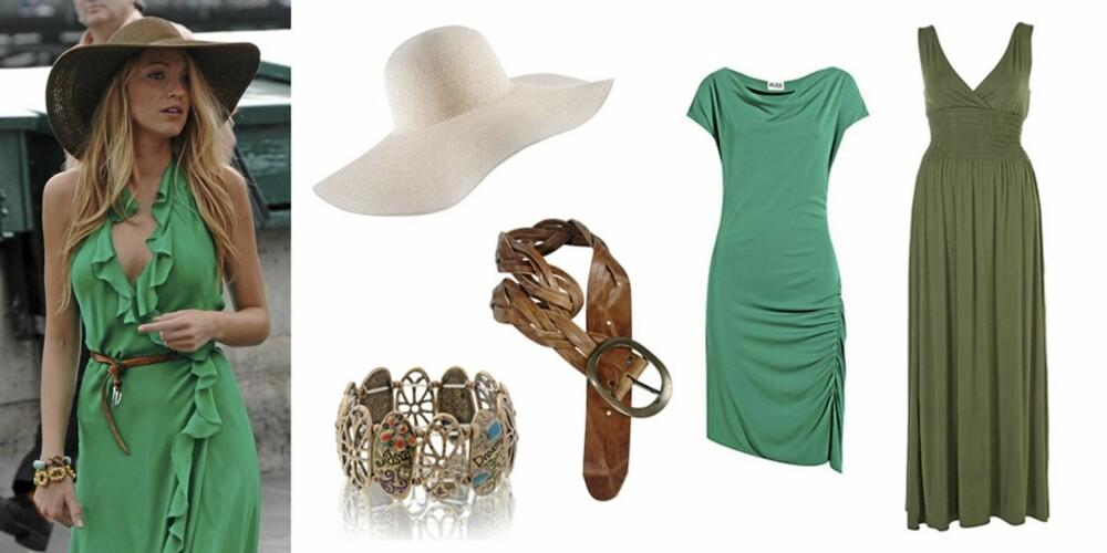 FRA VENSTRE: Blake Lively i en grønn kjole med rysjer, kombinert med et smalt belte og hatt. Stråhatt fra H&M (kr 79,50), armbånd fra Nelly (kr 59), flettet belte fra Ellos (kr 299), gressgrønn kjole fra Alice by Temperly (kr 1833), militærgrønn kjole fra Topshop (kr 335).