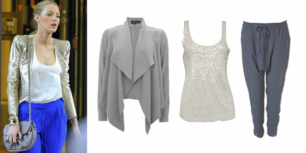 FRA VENSTRE: Lively i en knallblå bukse, hvit singlet og glinsende, kort jakke. Grå jakke fra Warehouse (kr 622), grå singlet med paljetter fra One Teaspoon (kr 699), blå haremsbukse fra Topshop (kr 268).