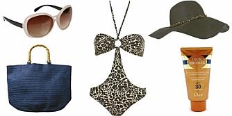 FRA VENSTRE: Solbrille fra Cubus (kr 79), veske fra H&M (kr 99kr), badedrakt fra Topshop (kr 264), hatt fra Topshop (kr 208) og Dior Bronze High Protection (kr 257).