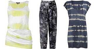 FRA VENSTRE: Singlet fra Bik Bok (kr 99), bukse fra Acne (kr 2072), kjole fra Warehouse (kr 245).
