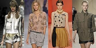 FRA VENSTRE: Fotoprint fra Prada, shorts fra Etro, skinnskjør fra 3.1 Phillip Lim og uniformsjakke fra Céline.