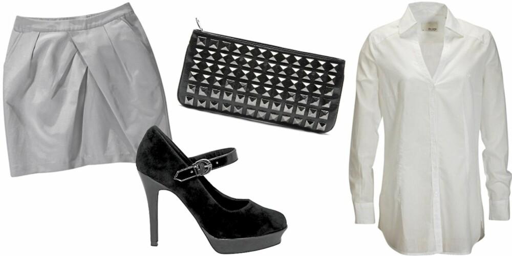 FRA VENSTRE: Skjørt fra Gina Tricot (kr 199), sko fra Bianco (kr 750), clutch fra Mango (kr 299), skjorte fra Ellos (kr 279).