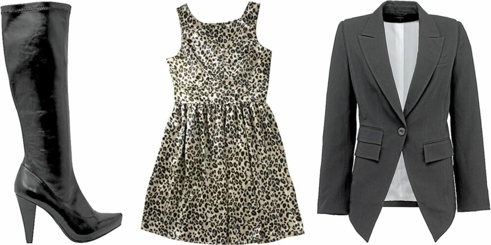 FRA VENSTRE: Støvletter fra Bianco (kr 600), kjole fra Gina Tricot (kr 299), dressjakke fra Lindex (kr 499)