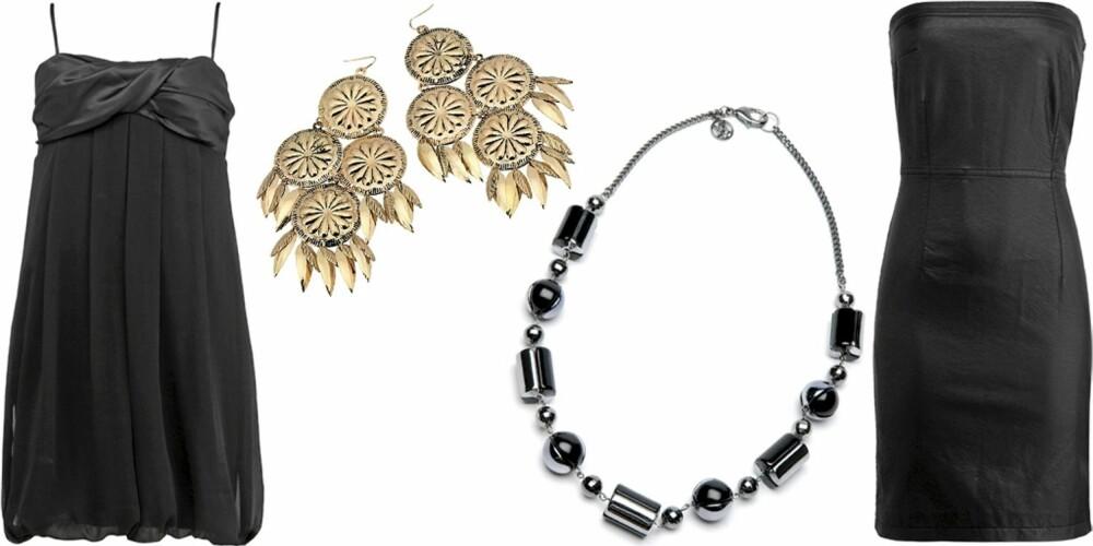 FRA VENSTRE: Kjole fra Gina Tricot (kr 249), øredobber fra Gina Tricot (kr 129), smykke fra Mango (kr 99), stroppeløs skinnkjole fra Lindex (kr 399)