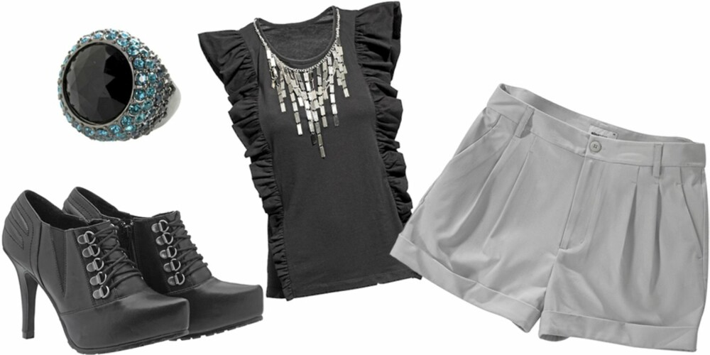 FRA VENSTRE: Sko med snøring fra Din Sko (kr 449), ring fra Accessorize (kr 230), topp fra H&M (kr 299), shorts fra Gina Tricot (kr 249).