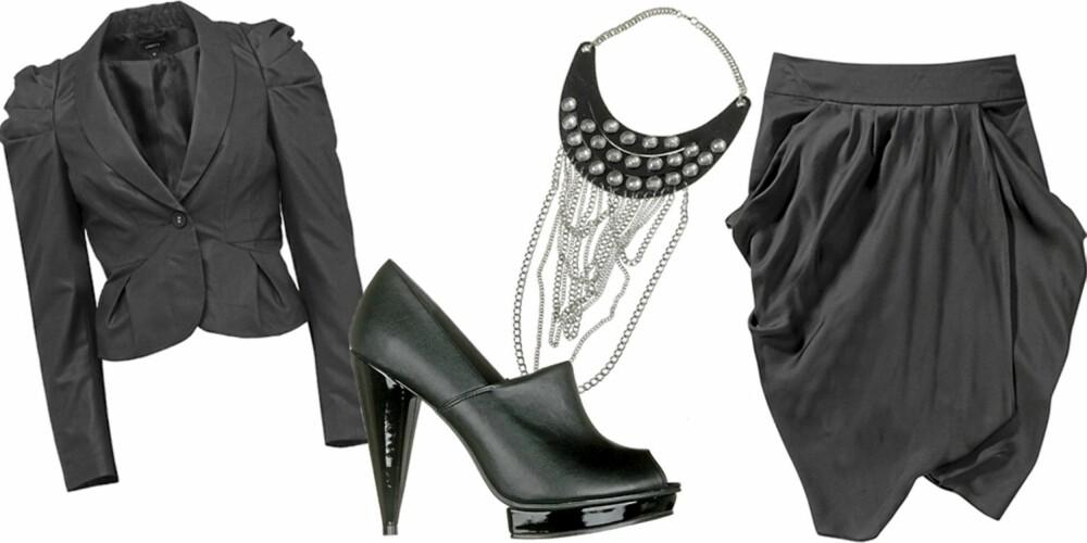 FRA VENSTRE: Dressjakke fra Lindex (kr 499), sko fra Din SKo (kr 449), smykke fra Gina Tricot (kr 249), drapert skjørt fra Gina Tricot (kr 299).