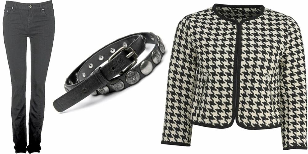 FRA VENSTRE: Bukse fra Cubus (kr 299), belte fra Mango (kr 239), Chanelinspirert jakke fra H&M (kr 299).