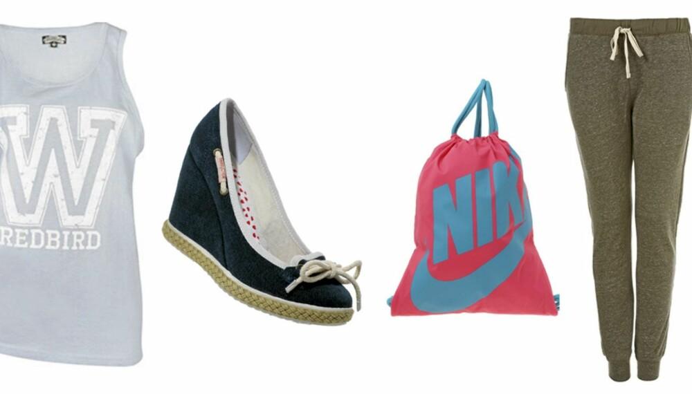 FRA VENSTRE: Singlett fra Bik Bok (kr 199), sko fra See By Chloé (kr 1556), bag fra Nike (kr 104) og bukse fra Topshop (kr 142).