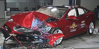 IKKE BEST: Tesla Model S er ikke best av elbilene som EuroNCAP har testet. FOTO: EuroNCAP