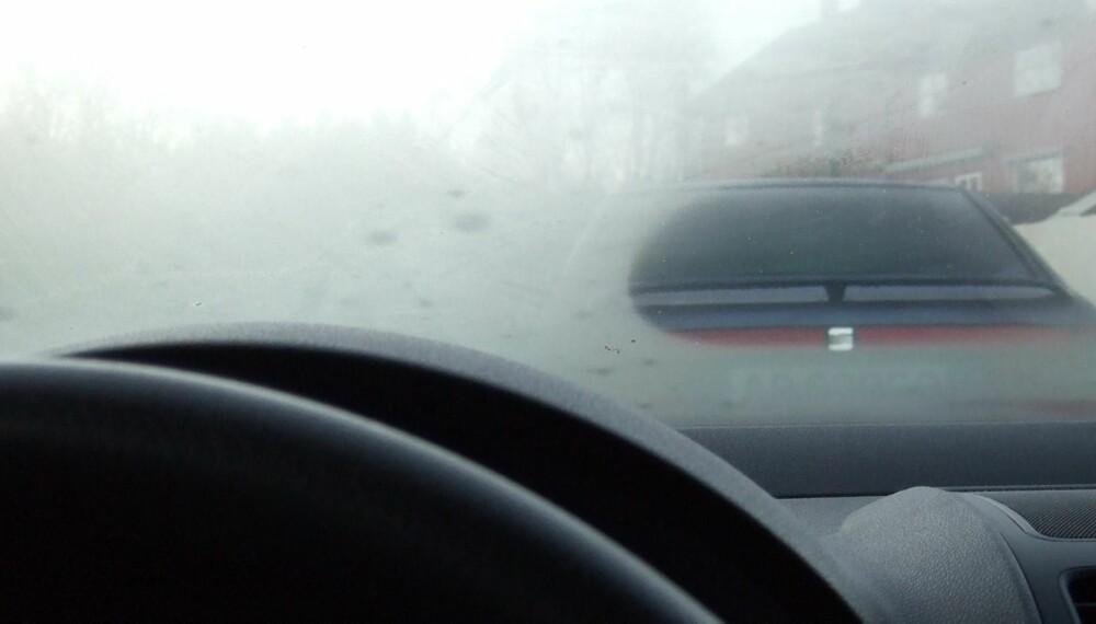 KJENT PROBLEM: Dugg på rutene oppstår når varm, fuktig luft møter rutenes kalde flater. Fjern kilder til fukt i bilen og vask rutene godt, så blir du kvitt problemet.