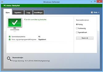 SJEKK: På Windows 8 skal det i utgangspunktet være nok med Microsofts innebygde antivirusløsning, Windows Defender. Dessverre for Microsoft kommer den ikke alltid like godt ut i tester.