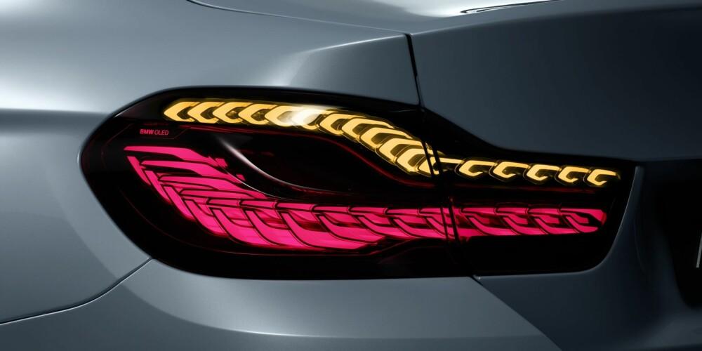 LED + O: OLED er det nye for baklysene. Med OLED sier BMW at de kan skape tredimensjonal effekt, og dessuten endre formen på lyset for eksempel med hastigheten. FOTO: BMW