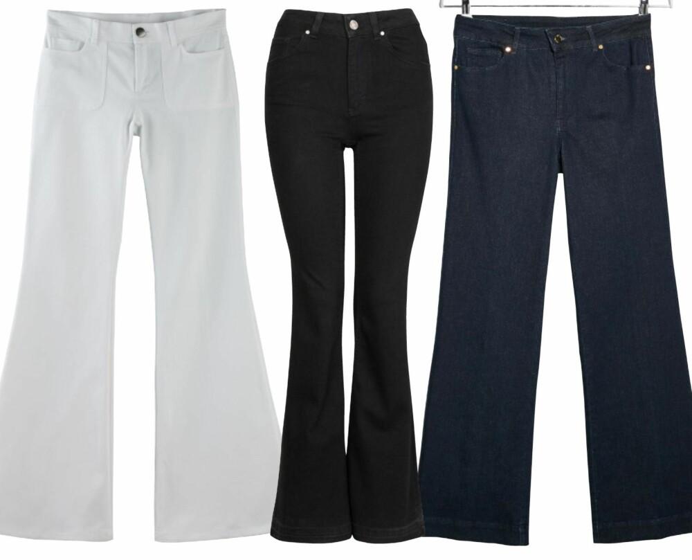 UTALLIGE VARIANTER: Fra venstre: La Redoute, kr 640. Never Denim/Bik Bok, kr 499. Mango, kr 399.
