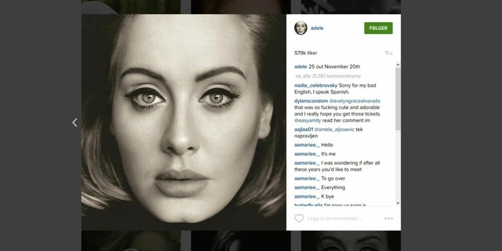 SIGNATURLOOK: PERFEKT EYELINER: Adele er kjent for å lege en perfekt eyeliner.