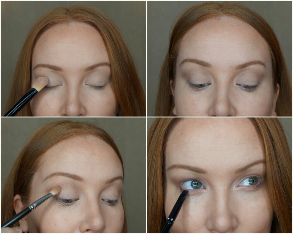 ØYNE: En lys base, etterfulgt av en matt brun tone i global er alltid med i Adele sine sminkelooker. Legg på en gyllen kobbertone i ytterkant av øyet, en mørk skygge langs nedre vippekant og en hvit kajal på våtkanten for en ekstra glamorøs effekt.
