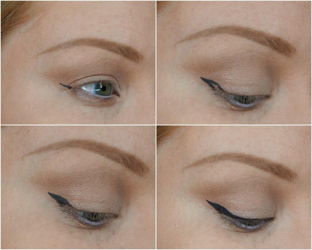 EYELINER: Line opp eyelineren fra ytre øyekrok ved å følge retningen som nedre vippekant viser. Trekk en linje tilbake til øvre vippekant, fyll inn vingen og fortsett eyelineren innover.