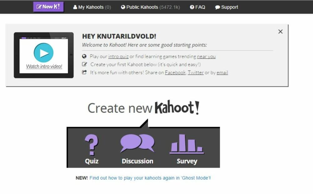 LOGG INN: Du må lage deg en konto på Kahoot før du kan lage en quiz.