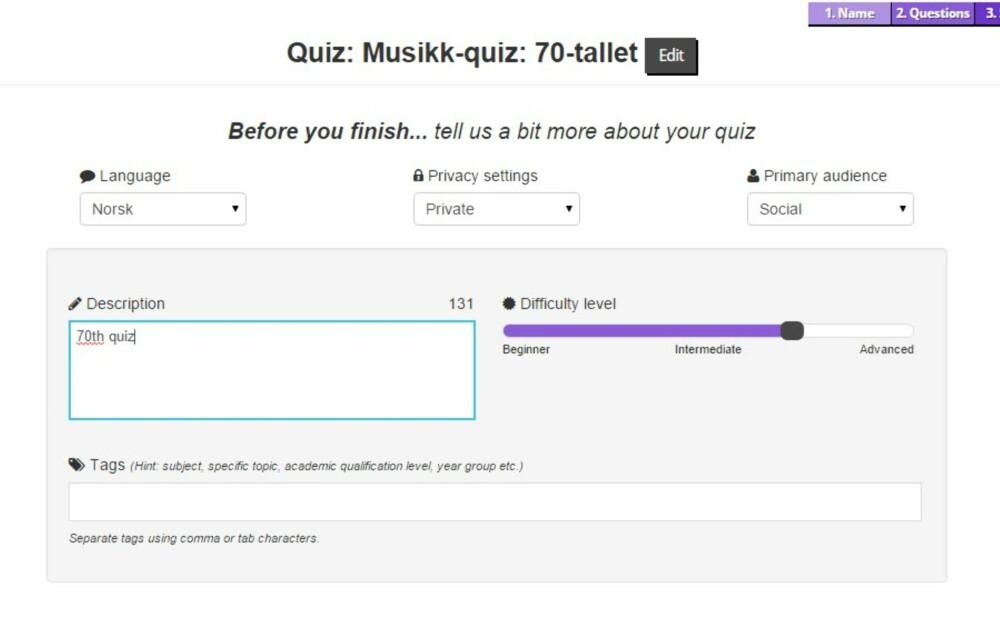 OFFENTLIG QUIZ: Skal quizen din være offentlig, bør du legge til litt informasjon om hva den handler om.