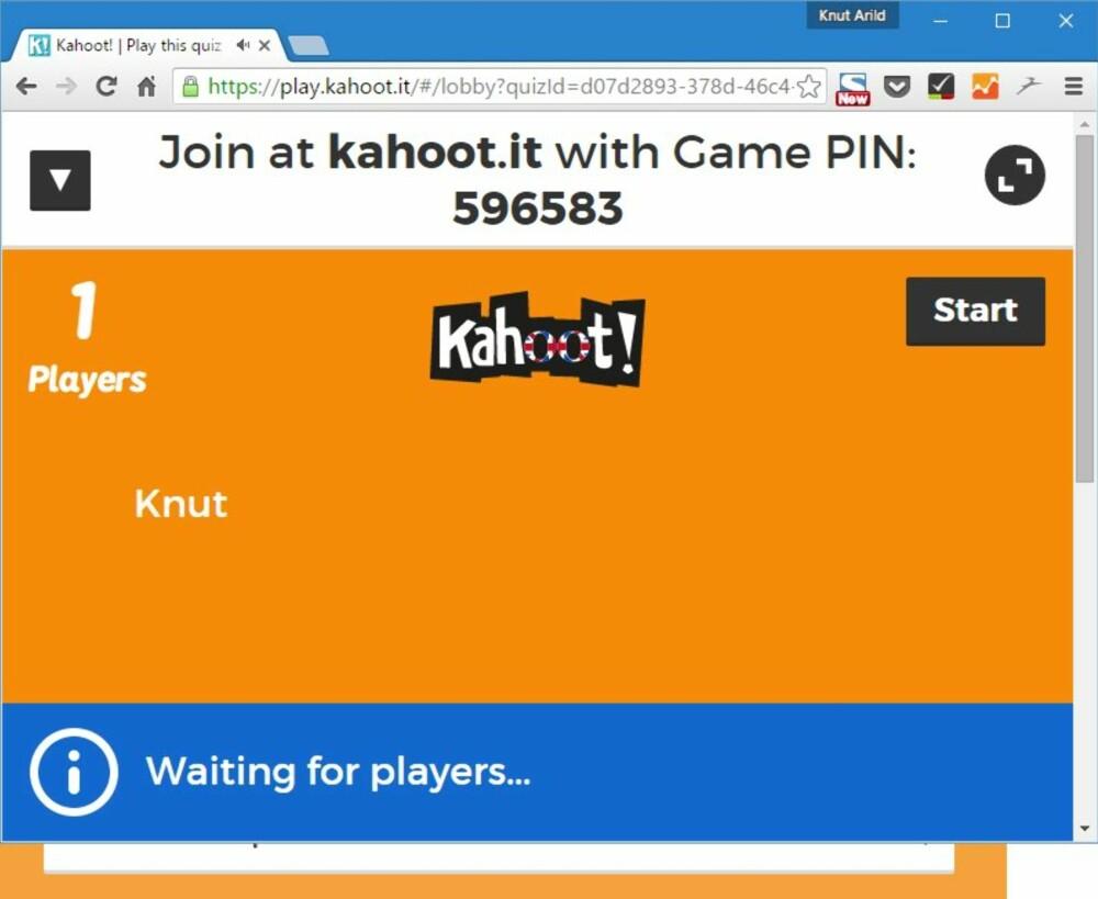 LOGG INN: Deltagerne kan nå logge seg inn og oppgi koden som står på skjermen.