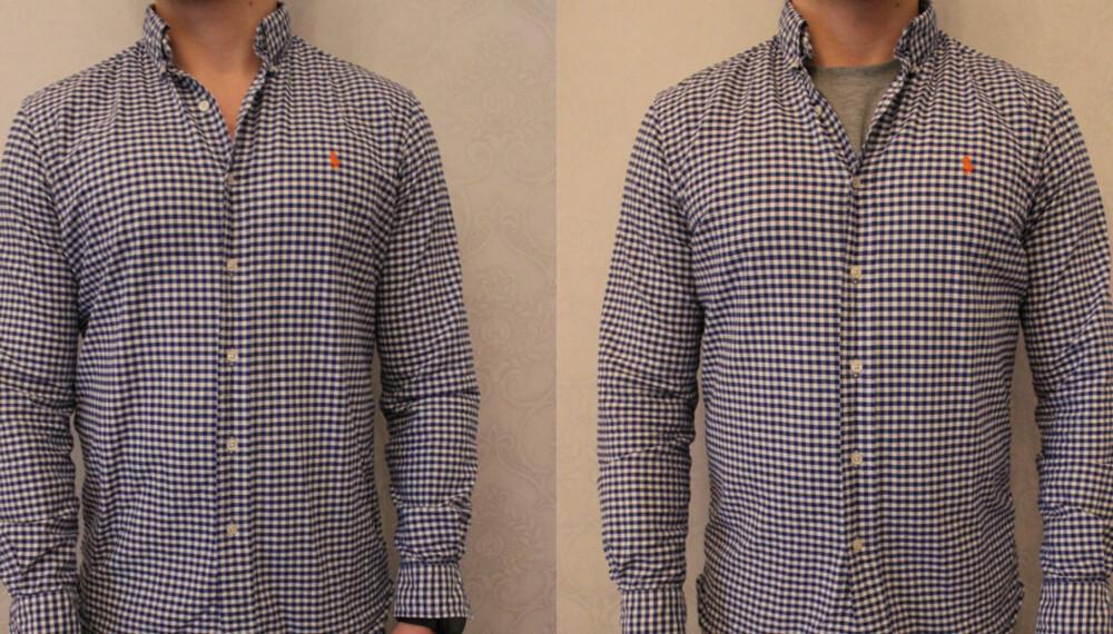 T-SKJORTE ELLER IKKE: - Det kan oppfattes som litt vulgært, lite gjennomtenkt eller «nybegynner» om du går med T-skjorte under skjorten, sier stylist og motejournalist Lars Midtsjø.