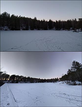 FORSKJELL: Man får naturlig nok med mer av omgivelsene om man bruker en panoramafunksjon som kan kombinere flere rader med bilder. Det øverste bildet er tatt på vanlig måte, mens det underste er ni bilder kombinert til ett.