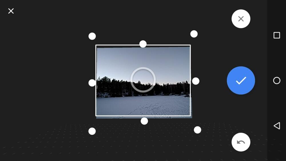 Deretter kan du bevege kameraet til hvert av de åtte andre punktene. Kameraet vil automatisk knipse et bilde hver gang du treffer et punkt.