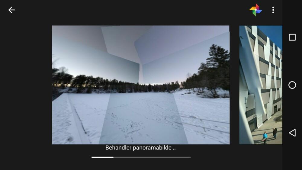 Når du trykker på galleriknappen oppe i høyre hjørne vil Google Camera begynne å behandle bildet, altså prøve å stifte det sammen på best mulig måte. Når bildet er ferdig lagres det som et vanlig bilde du kan se på på vanlig måte i mobilen din.