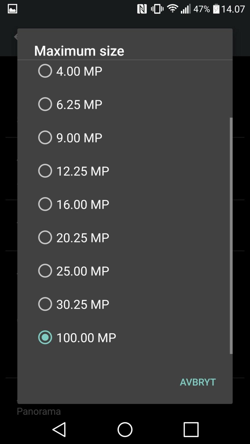 Finn innstillingen for «Maximum size» og sett denne til 100.00 MP. Da hindrer du appen i å nedskalere det ferdige bildet (med mindre det blir over 100 megapiksler stort).