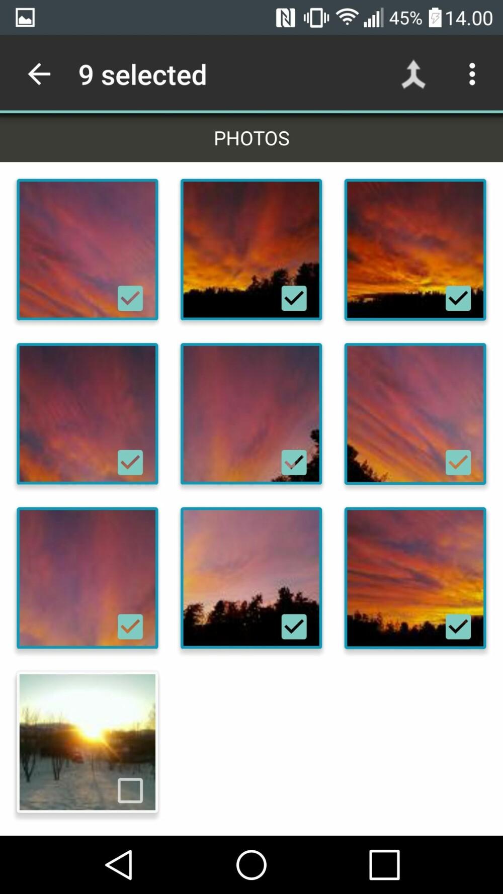 Velg alle bildene du vil sette sammen.
