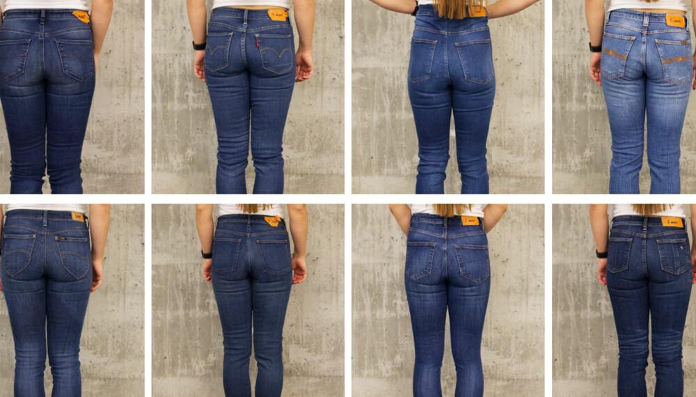 JEANSTEST: Vi har kvalitetstestet åtte jeans fra kjente merker i ulik prisklasse. Øverst fra venstre: Diesel, Levi's, Bik Bok, Nudie, Lee, Acne, Cubus og Rag & Bone.
