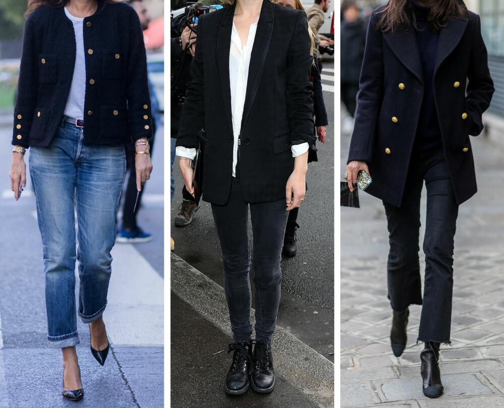 MASKULIN: Rette blazere og frakker, voluminøse herreskjorter, skreddersydde dresser og boyfriend jeans er nøkkelplagg i en herreinspirert garderobe. Tilbehøret er minimalistisk og rent. Eksempel: Kristen Stewart og Emmanuelle Alt.