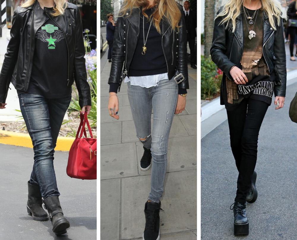 ROCKA: Svart, hvitt og grått går igjen i garderoben til en rockejente. Et par hullete jeans, en band T-skjorte, bikerjakke og Dr. Martens støvler er et typisk antrekk. Eksempel: Cara Delevingne og Gwen Stefani.