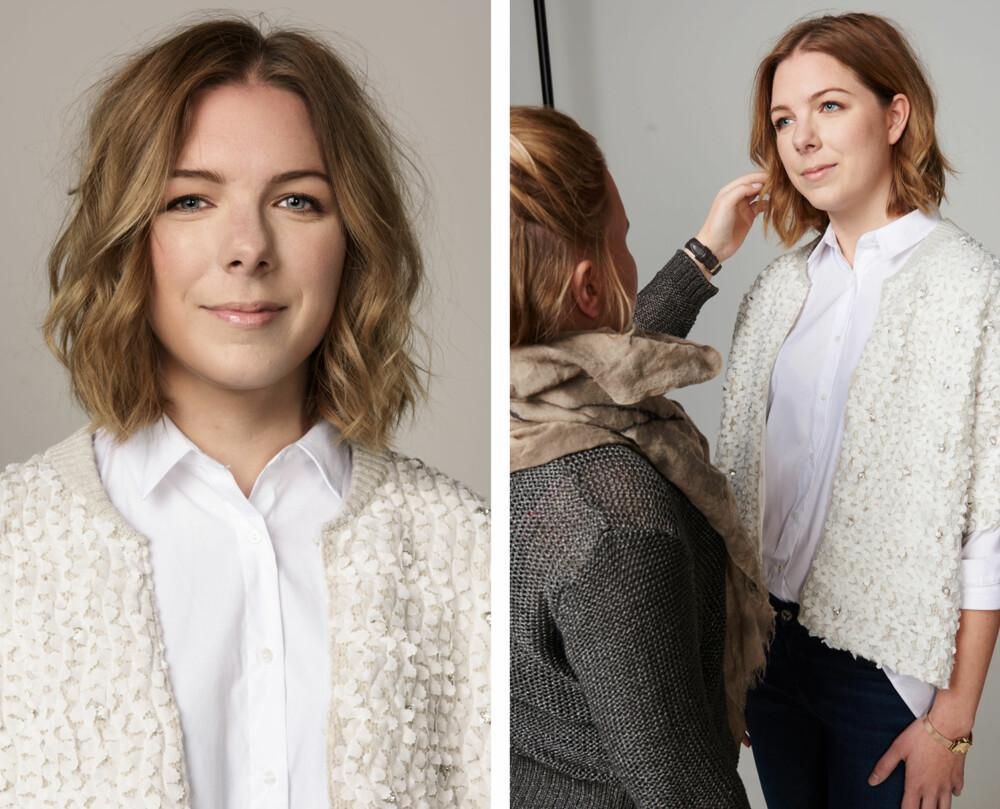 SMINKE OG HÅR: Frisør og makeupstylist Christine Mellem la en naturlig sminke på Nina, mens håret hennes ble krøllet til en naturlig og tilfeldig frisyre.