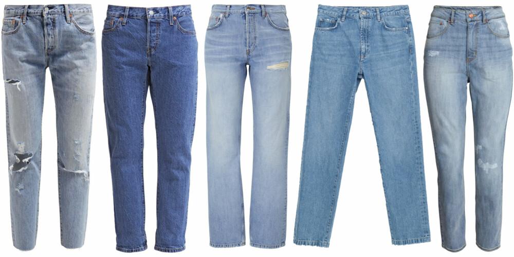 VINTAGE JEANS (f.v.): Levi's 501 CT - Straight leg jeans - time gone by, kr 1295. Levi's 501 CT - Relaxed fit jeans - surf shack, kr 999. Gina Tricot Nova highwaist jeans, kr 599. Zara denimbukse unisex, kr 349. H&M Mom Trashed Jeans, kr 299.