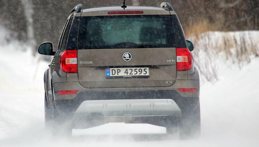 SNØMANNEN: Skoda Yeti har 4WD som kobler inn bakhjulene når forhjulene spinner (Haldex), men klarer seg fint selv på tøft vinterføre.