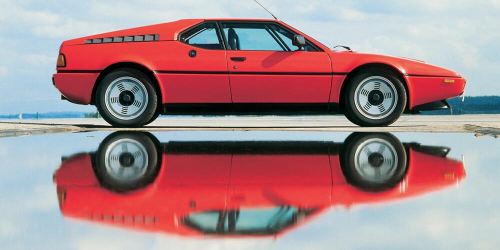 KJØREMASKIN: BMW M1 var utviklet for racing og modifisert for gatebruk; 1300 kilo, kun 4,36 meter lang og 1,14 meter høy, med avansert hjuloppheng og en heftig sekssylindret rekkemotor med racing-slektstavlen i orden.