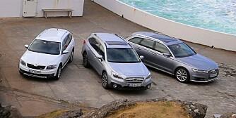 4X4: Tre gode representanter for standen i hver sin priskategori. Skoda Octavia Scout, Subaru Outback og Audi A6 Allroad. FOTO: Terje Bjørnsen